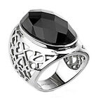 316L Stainless Steel Ornate Designed Huge Black Faceted CZ Ring Size 5-10