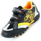 Boys Size 8 - 2 Black Yellow JCB Velcro Trainers Shoes NEW Fastrac