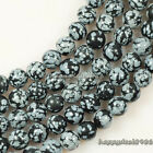 "Natural Snowflake Obsidian Round Ball Loose Beads 15.5"" 4mm,6mm,8mm,10mm"