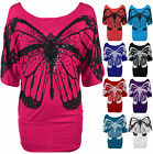 Ladies Butterfly Printed Batwing Womens Glitter Off Shoulder Top Plus Size 6-26