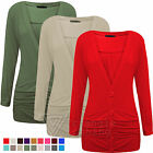Ladies Womens Cardigan Ruched Pocket Button Cardi Long Sleeve Stretch Plus sizes