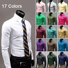 New Mens Luxury Casual Slim Fit Stylish Solid Color Dress Shirt 5 Size 17 Colors