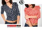 LADIES POLKA DOT SHORT CARDIGAN KNIT TOP JUMPER BLOUSE SWEATER VINTAGE BOHO