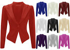 Ladies Smart Ponte Tailored Jacket Womens Jersey Slim Fitted Blazer Size 8-16