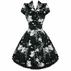 Lucy 50's Dress Black white Floral Swing 50's 40's Housewife pinup Retro 6839