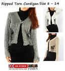 LADIES WOMEN RIPPED KNITTED CARDIGAN CHUNKY WRAP TORN JUMPER BLOUSE TOP SWEATER