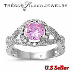 sterling silver womens pink cubic zirconia cz engagement ring size 6 7 8 9