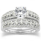 1.15CT Natural Diamond Engagement Wedding Ring Set 14K White Gold (Not Enhanced)