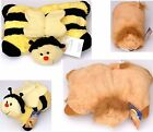 """16"""" 2 in 1 Lion or Bee Pillow Pet Cuddly Very Soft Toy Fur & Fleece Cushion"""