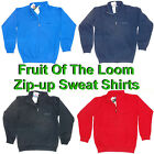Kids Fruit Of The Loom Zip Sweatshirt Hand Warmer Pockets Fleece Red Blue Black