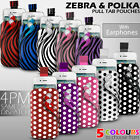 LEATHER POLKA & ZEBRA PULL TAB CASE POUCH+EARPHONE FOR VARIOUS SAMSUNG MOBILE