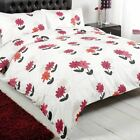 Daisy Petal Floral Flowers Cream Beige Red Pink Duvet Cover Quilt Bedding Set