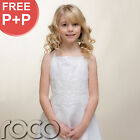 Traditional Girls White Satin Strap Embroidered Holy Communion Dress Bolero