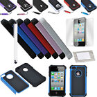 Hybrid Rugged Impact Combo Hard Cover Case For iPhone 4 4S + Pen & Screen Guard