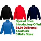 Kids Fruit Of The Loom Zip Sweatshirt Navy Blue Black Royal Blue Red Pockets