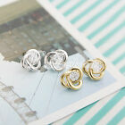 European Gold/Silver Fashion Women Elegant Rhinestones Hollow Ear Studs Earrings