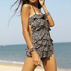 Womens Leopard Backless Tankini Surfing Swimsuit Swim Suit Wear Swimdress
