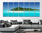 Huge Canvas Print Set Of 7 Island In Tropical Blue Ocean Can Add Real Clock