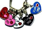 VALENTINE 'KISS ME' HEART WITH LIPS CHARM FITS EUROPEAN BRACELETS - BUY 3 GET 1
