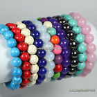 "New Fashion 10mm Stone Round Bead Stretch Bracelet 7.5"",Pick Stone!"