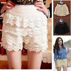 Charming fashion Women's cotton Tiered Lace Wave Edge Skorts Short Pants P70