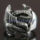 1Pc Men Heavy Stainless Steel Eagle Hawk Live To Ride Finger Ring Men's Jewelry