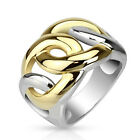 316L Stainless Steel Ladies' 2-Tone Gold & Silver Chain Link Swirl Ring Size 6-9