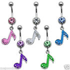 Enamel CZ Music Note Dangle Belly Button Navel Ring Pick Your Color
