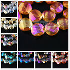 10 Charms Colorized Faceted Glass Crystal Tile Twist Helix Spacer Beads 18x8mm