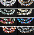 8 Charms Rectangle Glass Crystal Braclet&Necklace Finding Spacer Beads18mm Color