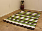 LARGE & MEDIUM HANDMADE THICK SOFT WOOL BROWN GREEN GREY IVORY STRIPE DESIGN RUG