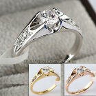 A1-R024 Solitaire Engagement Wedding Ring 18KGP Swarovski Crystal Size 5.5-10