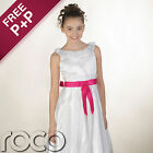 Girls White Dress with Hot Pink Waistband Wedding Flowergril Communion Dresses