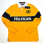 Tommy Hilfiger Long Sleeve Polo Shirt Graphic Rugby Yellow Navy Blue Logo V211