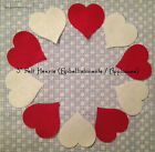 "Pk of 5 Medium Felt 3"" Heart Embellishments/Appliques Card Toppers Red or White"