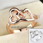 A1-R184 Fashion 18KGP Double Hearts Ring Size 5.5-10