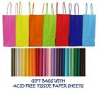 PARTY GIFT BAGS x 5 - WITH TISSUE PAPER - BIRTHDAY/WEDDINGS/CHRISTENINGS