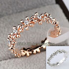 A1-R3028 Fashion Ring Flower 18KGP Rhinestone Crystal Size 5.5-9