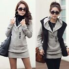 Stylish Women Long Top Knitting Sweater Buttons Noble New Hooded Solid Knitwear