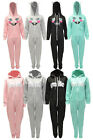 WOMEN LADIES CAT,SMILE STRIPE PRINT HOODED ZIP ALL IN ONE PIECE ONESIE JUMPSUIT