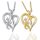 "Solitaire Diamond Heart Pendant 14K Gold With 18"" Chain"