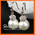 18K WHITE ROSE GOLD FILLED E190 PEARL CRYSTALS WOMENS SOLID DANGLE DROP EARRINGS