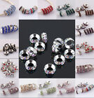 Wholesale Mixed Crystal Silver Big Hole Charms Beads Fit Bracelet 10mm
