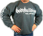 BODYBUILDING CLOTHING SWEATSHIRT WORKOUT  TOP CHARCOAL IRON & PAIN  LOGO D-24