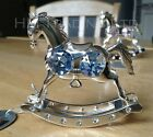 Crystal Rocking Horse Silver Plated Ornament New Born Baby Christening Xmas Gift