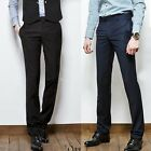 NWT Men's Slim fit Casual Formal Straight Pants Smooth Trousers 2color h1036