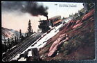 **1900's ASCENDING COG ROAD  PIKE'S PEAK COLORADO ~ SMOKING TRAIN