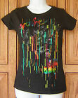 BILLABONG Blue Pink Yellow Foil Evolve Design For Humanity Black T Shirt Top G