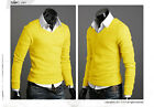 New 2013 Spring Mens Premium Slim Fit V-neck Sweater Jumper Tops Cardigan