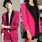 Fashion Womens Long Sleeve Trendy Blazer Suit Color Blocking Turn Down Collar